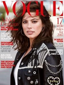 Varias firmas de moda se negaron a vestir a Graham para el reportaje de Vogue del número de enero de 2017. Ph. Patrick Demarchelier
